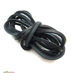 Black Leather Shoelaces for Boat Shoes (47in) 120cm