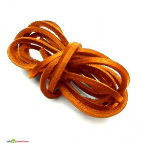 Orange Leather Shoelaces for Boat Shoes (47in) 120cm