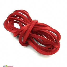 Red Leather Shoelaces for Boat Shoes (47in) 120cm