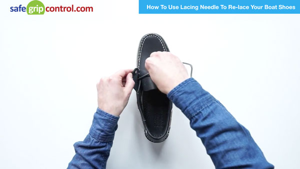 Step #2: Start lacing from the inside out of the first eyelet located on the side of your boat shoe.