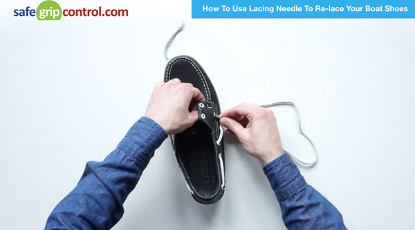 Step #6: Remove the lacing needle and lace your shoes