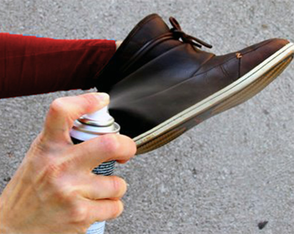 Step 1: Spray the inside and outside of the shoe