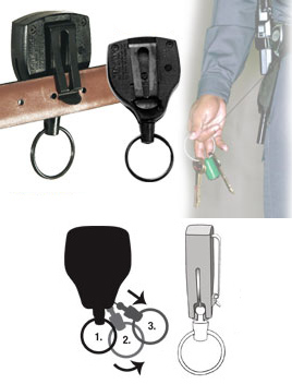 Key-Bak patented ball joint allows the keys to be locked so that they don't tangle.