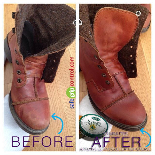 Greasing leather boots is the ideal solution to restoring genuine leather, protecting Leather from Cracks, Scratches, Chips, Scrapes, Moisture and Dirt, Nourishing Leather so that it doesn't dry out, Helping Soften Leather Goods like a Conditioner, Helping waterproof and  Polishing