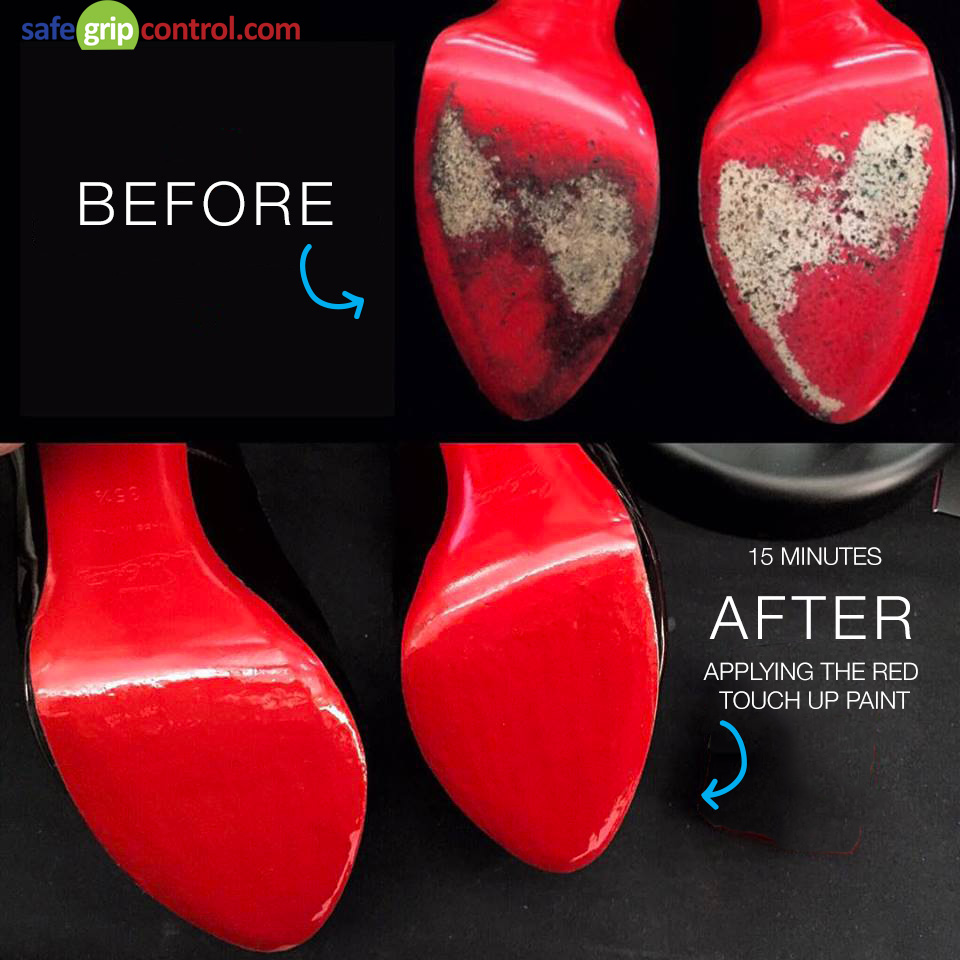 The following before-after picture shows worn Christian Louboutin shoes (above) that have been used on the street (cement ground) displaying scuff marks on the sole. 15 minutes later, after applying the touch up paint, the CL bottom shoes look like new (right)