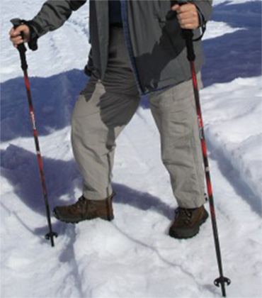 Hiking sticks provide good stability and traction